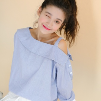 Japanese-style fresh hit color striped long-sleevedoff-the-shoulder shirt female Korean-style New style word collarflounced sling shirt