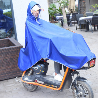 Jiagaomei electric car single person adult bike poncho motorcycle raincoat ((Thick section double hat) Electric Bicycle/bike universal-blue) ((Thick section double hat) Electric Bicycle/bike universal-blue)