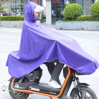 Jiagaomei electric car single person adult bike poncho motorcycle raincoat ((Thick section double hat) Electric Bicycle/bike universal-purple) ((Thick section double hat) Electric Bicycle/bike universal-purple)