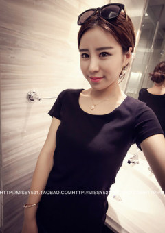 Jianyue solid color female round neck versatile bottoming shirt T-shirt (Black [310 models])