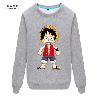 Joe men's one piece king round neck spring hoodie clothing hoodie(Luffy-gray) (Luffy-gray)