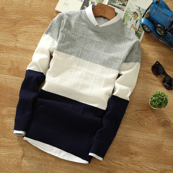 Knitted High School Students big boy warm bottoming shirt wool clothing (M809 on the gray under the blue)
