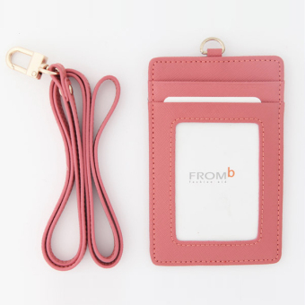 Korea FROMb bus lanyard card sets cute leather documents card sets work card access badges transparent card holder (Pink [spot])