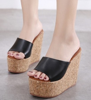 Korean-style beige ultra-high-heeled a font sandals thick bottomed muffin shoes (Black)