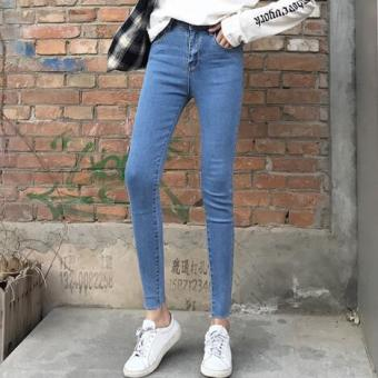 Korean-style black gray women high-waisted pants jeans (Light blue) (Light blue)