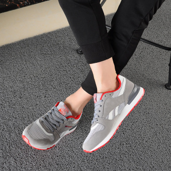 Korean-style breathable mesh men running shoes men's (42 + Grayred)