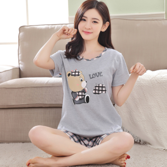 Korean-style cotton Female Summer tracksuit pajamas (Short sleeved 9252 gray)