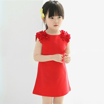 Korean-style cotton girls vest skirt dress (Red 06-01) (Red 06-01)