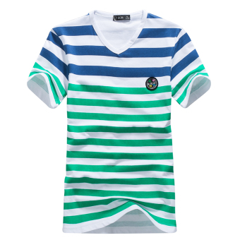 Korean-style cotton men summer base shirt T-shirt (Green striped)