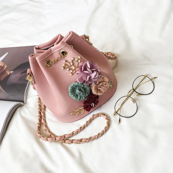 Korean-style female New style shoulder small bag (Pink)