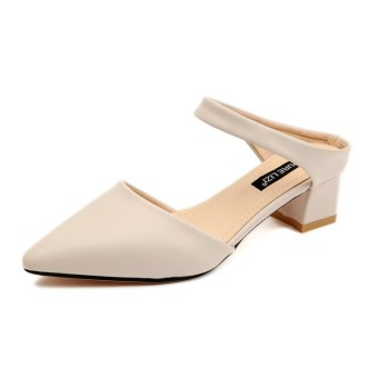 Korean-style female pointed A-line shoes semi-high heeled sandals and slippers shoes (Beige)