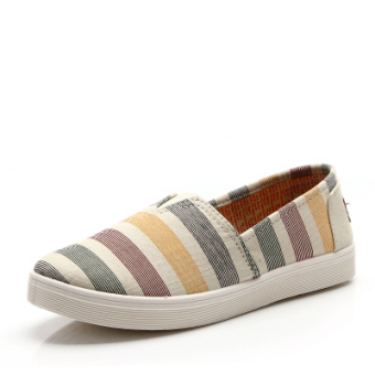 Korean-style female shoes a pedal (817 beige stripe)