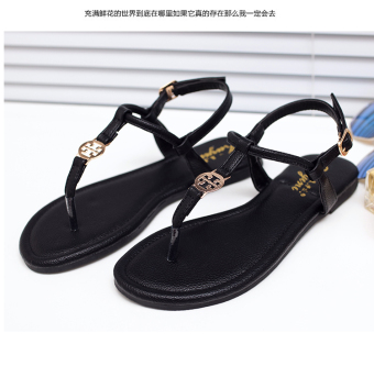Korean-style Female Summer New style flat flip sandals (Black)