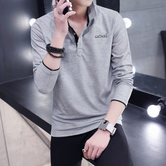 Korean-style long-sleeved Collar Slim fit Top thin section T-shirt