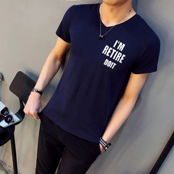 Korean-style New style lettered Slim fit T-shirt (V627 blue (collection of first shipment)) (V627 blue (collection of first shipment))