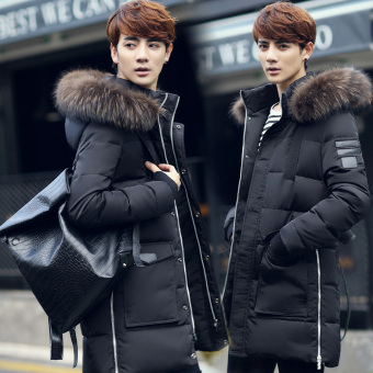 Korean-style New style men's hooded coat (Black)
