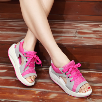 Korean-style New style summer thick bottomed women's shoes sandals (Light gray rose)