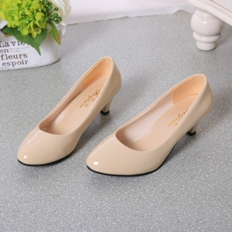 Korean-style patent leather round thin heeled semi-high heeled shoes Shoes (M beige (5 cm))