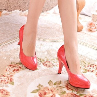 Korean-style patent leather round thin heeled semi-high heeled shoes Shoes (Red (8 cm))