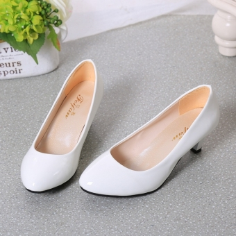 Korean-style patent leather round thin heeled semi-high heeled shoes Shoes (White (5 cm))