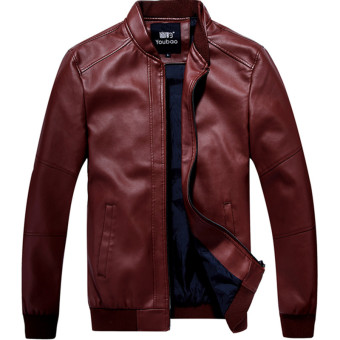 Korean-style Plus-sized men thin Slim fit leather jacket men's leather (Dark red color)