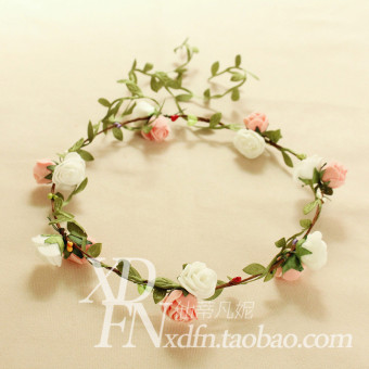 Korean style Rose Flower floral headdress wreath (Pink + white) (Pink + white)
