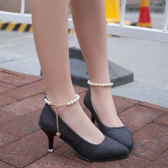 Korean-style sequin spring New style pointed shallow mouth shoes thin heeled high-heeled shoes (Black)
