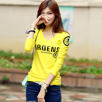 Korean-style Slim fit v-neck long-sleeved Top T-shirt (Yellow) (Yellow)