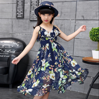 Korean-style sling princess dress girls dress (Dress dark blue color (not with shawl))