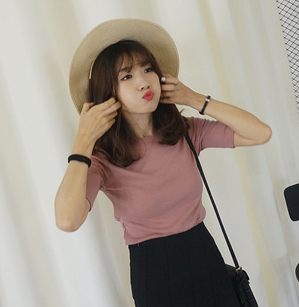 Korean-style solid spring and summer New style Top T-shirt (Pink)