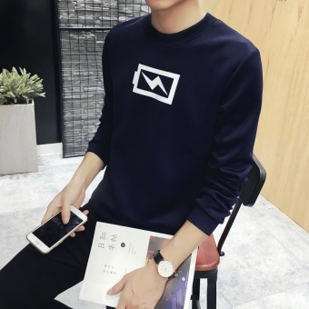 Korean-style space cotton men's baseball clothes round neck hedging hoodie (Charging-dark blue color)