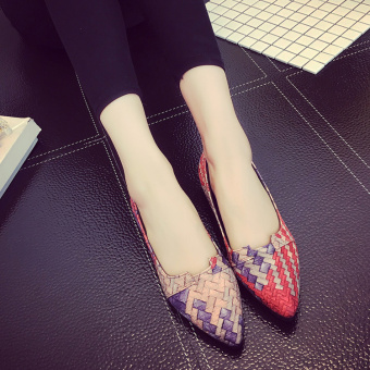 Korean-style spring and pointed singles shoes flat top shoes (Red small half yards)
