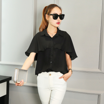 Korean-style spring and summer New style short sleeved chiffon shirt (Black) (Black)