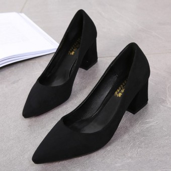 Korean-style spring New style thick with high-heeled shoes pointed shoes (Black (General Edition))