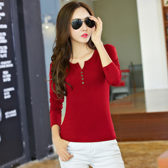 Korean-style spring New V-neck bottoming shirt (Red wine)