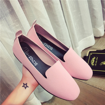Korean-style suede spring and summer New shallow mouth single shoes (Pink)