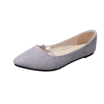 Korean-style summer Pearl pointed flat shoes spring shoes (Gray)