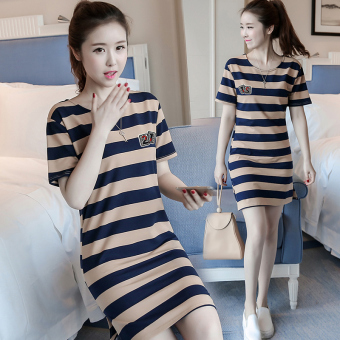 Korean-style women loose in the long section striped dress (5820 casual blue striped)