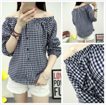 Korean-style word collar off-the-shoulder loose female Top doll shirt