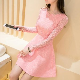 Ladies Korean-style solid New style temperament lace long-sleeveddress (Pink)