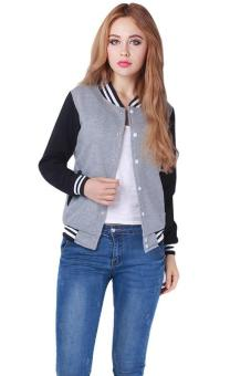 LALANG Splice Sleeves Stand Collar Couples Baseball Jacket Grey