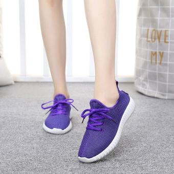 Lazy casual breathable student's shoes comfortable sports shoes (808 summer mesh shoes purple)