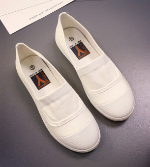Lazy versatile summer female New style white shoes BayMini shoes (White)