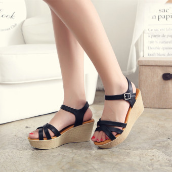 Leather female thick bottomed high-heeled versatile women's shoes Korean-style sandals (Black) (Black)