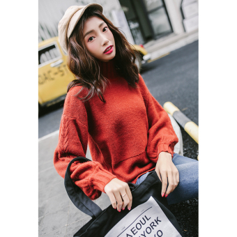 LOOESN bubble sleeves knit solid color female high collar sweater (Orange color)