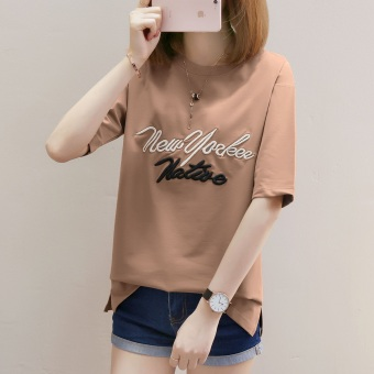 LOOESN casual embroidered female student Short sleeve Top T-shirt (735 (Ka Qi))