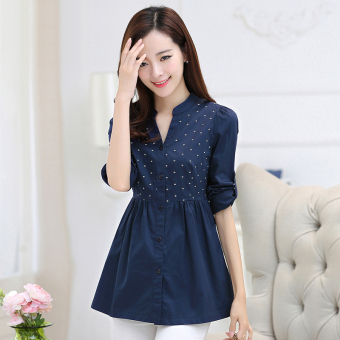 LOOESN casual female long-sleeved New style Shirt shirt (Dark blue color)