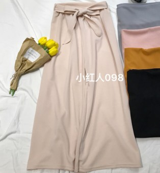 LOOESN casual summer new lace wide leg pants (Beige)