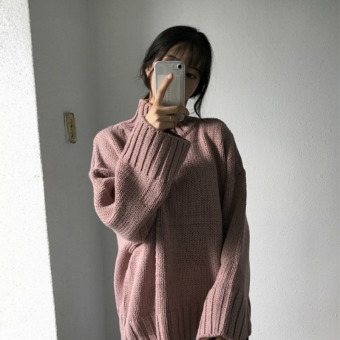 LOOESN college style solid color New style high collar pullover sweater (Pink)
