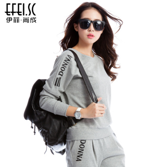 LOOESN cotton round neck women Spring and Autumn pullover hoodie (933-gray Autumn)